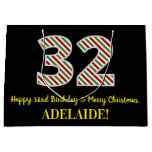 [ Thumbnail: Happy 32nd Birthday & Merry Christmas, Custom Name Gift Bag ]
