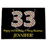 [ Thumbnail: Happy 33rd Birthday & Merry Christmas, Custom Name Gift Bag ]