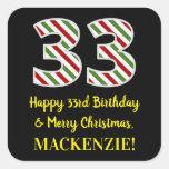 [ Thumbnail: Happy 33rd Birthday & Merry Christmas, Custom Name Sticker ]