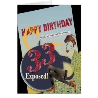 Happy 33rd Birthday worn vintage flare old age 33 Card