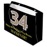 [ Thumbnail: Happy 34th Birthday & Merry Christmas, Custom Name Gift Bag ]