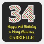 [ Thumbnail: Happy 34th Birthday & Merry Christmas, Custom Name Sticker ]