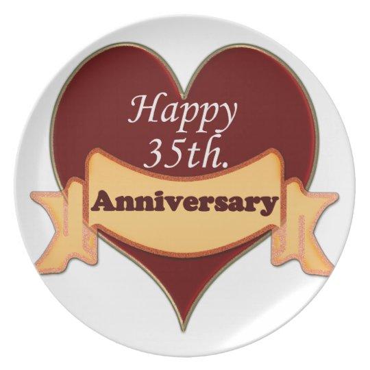 Happy 35th. Anniversary Melamine Plate