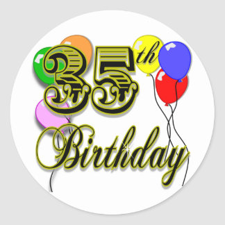 Happy 35th Birthday Gifts Classic Round Sticker