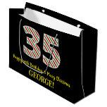 [ Thumbnail: Happy 35th Birthday & Merry Christmas, Custom Name Gift Bag ]