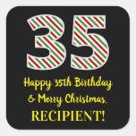 [ Thumbnail: Happy 35th Birthday & Merry Christmas, Custom Name Sticker ]