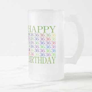 Happy 36th Birthday Frosted Glass Beer Mug