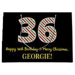 [ Thumbnail: Happy 36th Birthday & Merry Christmas, Custom Name Gift Bag ]