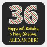 [ Thumbnail: Happy 36th Birthday & Merry Christmas, Custom Name Sticker ]