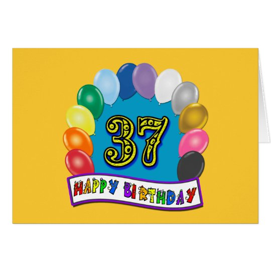 Happy 37th Birthday Balloon Arch Card