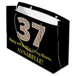 [ Thumbnail: Happy 37th Birthday & Merry Christmas, Custom Name Gift Bag ]