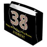 [ Thumbnail: Happy 38th Birthday & Merry Christmas, Custom Name Gift Bag ]