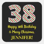 [ Thumbnail: Happy 38th Birthday & Merry Christmas, Custom Name Sticker ]
