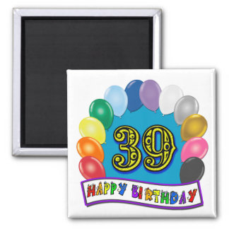 Happy 39th Birthday Balloon Arch 2 Inch Square Magnet