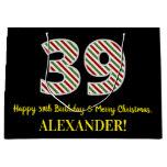 [ Thumbnail: Happy 39th Birthday & Merry Christmas, Custom Name Gift Bag ]