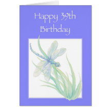 Happy 39th Birthday Watercolor Dragonfly Nature Cards