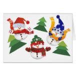 Happy 3 Snowman Christmas Card