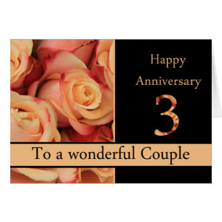 Happy 3rd Anniversary roses Greeting Card
