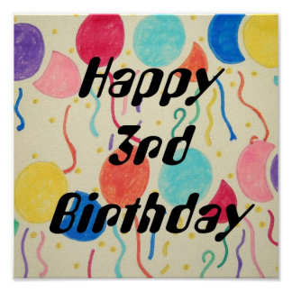 Happy 3rd Birthday Balloons And Streamers Print