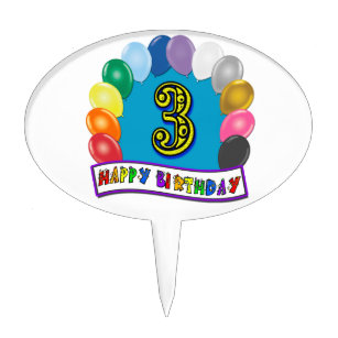 Happy 3rd Birthday Cake Topper With Balloon Arch