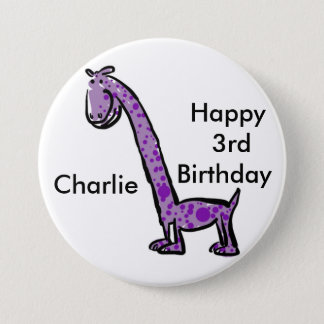 Happy 3rd birthday cartoon (name) dinosaur purple pinback button