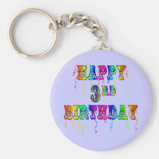 Happy 3rd Birthday Circus Font - Personalize it Keychain