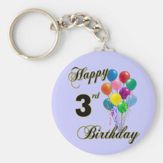 Happy 3rd Birthday Keychain and Birthday Apparel
