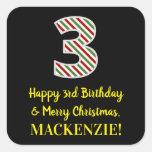[ Thumbnail: Happy 3rd Birthday & Merry Christmas, Custom Name Sticker ]