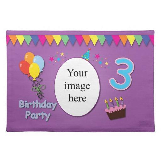 Happy 3rd Birthday Place Mat Zazzle