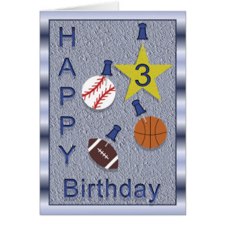 Happy 3rd Birthday Sports Themed Greeting Card
