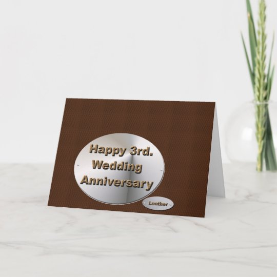 happy 3rd wedding anniversary card  zazzle