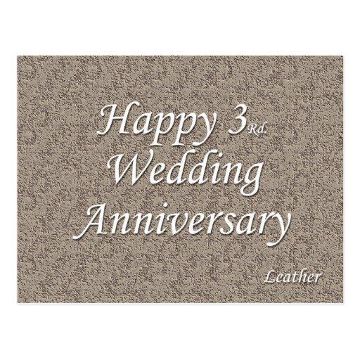 Wedding Gift Etiquette 3rd Marriage : Happy 3rd. Wedding Anniversary Postcard Zazzle