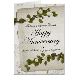 Happy 3rd Year Anniversary Floral Greeting Card
