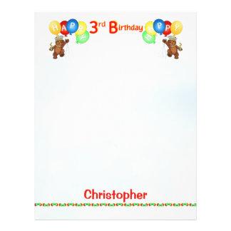 Happy 3rdd Birthday Bear Scrapbook Paper 2