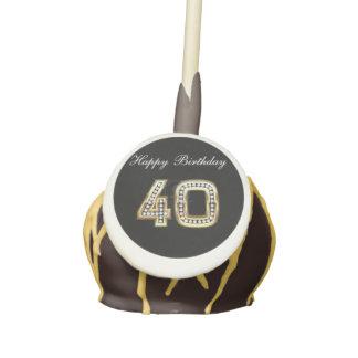 Happy  40 Birthday Gold Diamonds Cake Pops