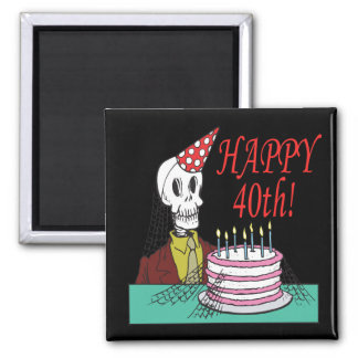 Happy 40th 2 inch square magnet