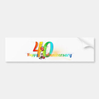 Happy 40th Anniversary Number  Balloon Party Bumper Sticker
