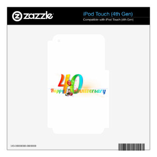 Happy 40th Anniversary Number  Balloon Party iPod Touch 4G Decals
