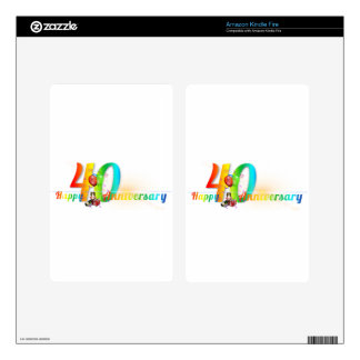 Happy 40th Anniversary Number  Balloon Party Kindle Fire Skin