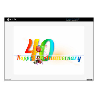 Happy 40th Anniversary Number  Balloon Party Laptop Decal