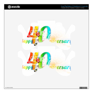 Happy 40th Anniversary Number  Balloon Party PS3 Controller Decals