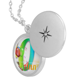 Happy 40th Anniversary Number  Balloon Party Round Locket Necklace