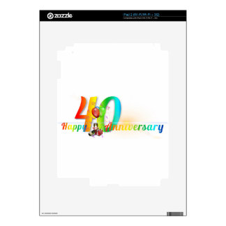 Happy 40th Anniversary Number  Balloon Party Skin For iPad 2