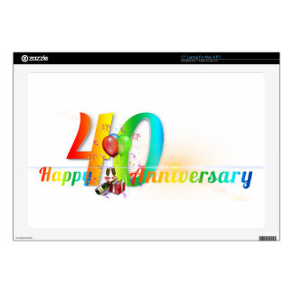 Happy 40th Anniversary Number  Balloon Party Skins For Laptops