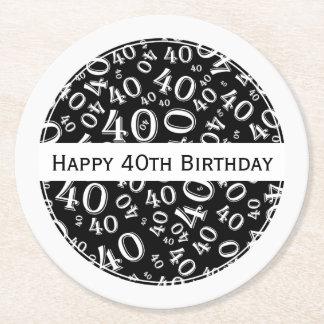"""Happy 40th Birthday"" Black/White Party Theme Rnd Round Paper Coaster"