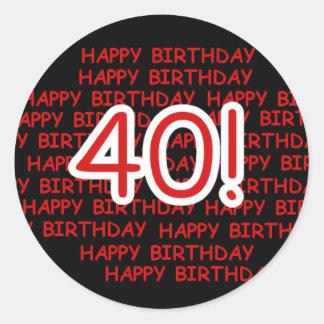 Happy 40th Birthday Classic Round Sticker