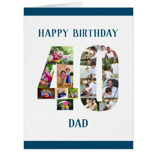 Happy 40th Birthday Dad Number 40 Photo Collage