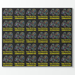 [ Thumbnail: Happy 40th Birthday, Fun Colorful Stars Pattern 40 Wrapping Paper ]