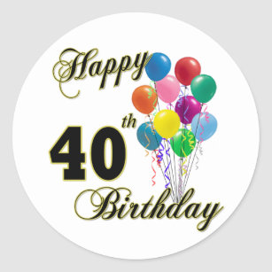 Happy 40th Birthday Gifts And Apparel Classic Round Sticker