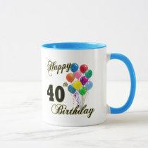 Happy 40th Birthday Gifts and Birthday Apparel Mug